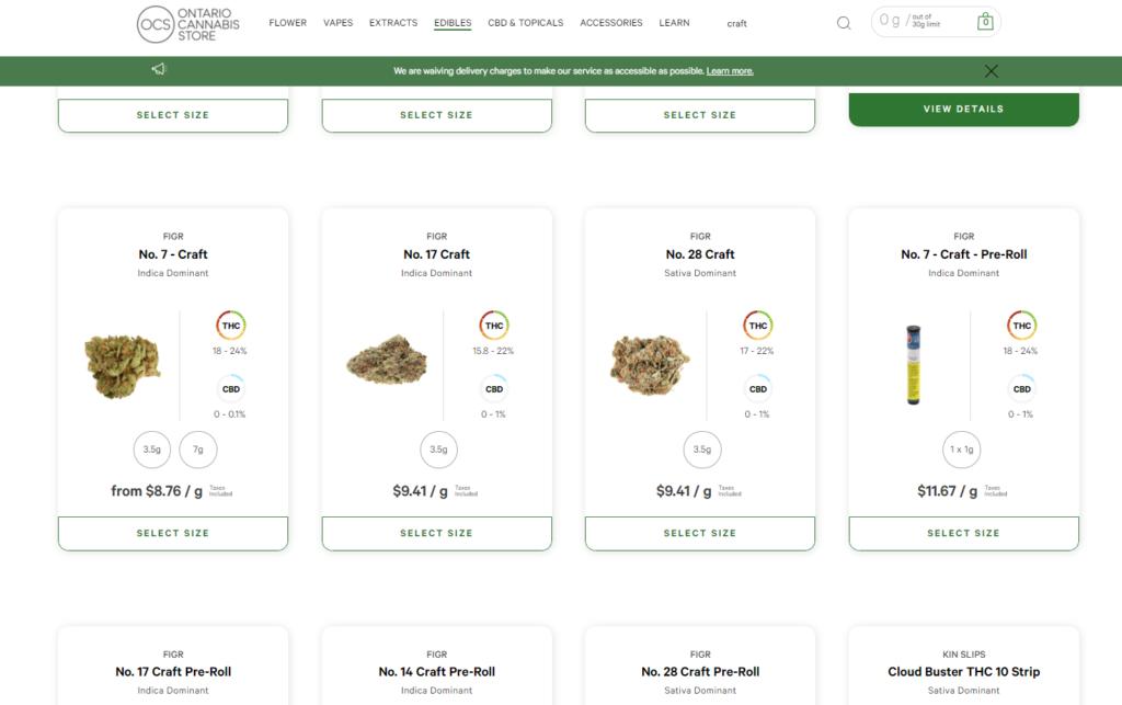 Craft Cannabis on the OCS